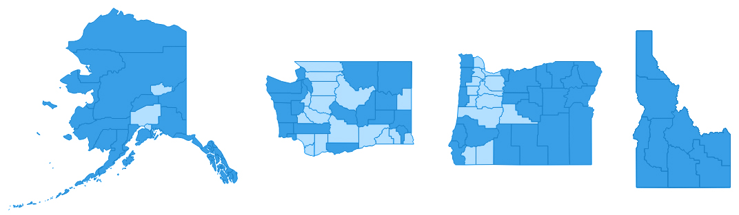 States of Alaska, Washington, Oregon, and Idaho, each with their counties shaded light or dark blue.